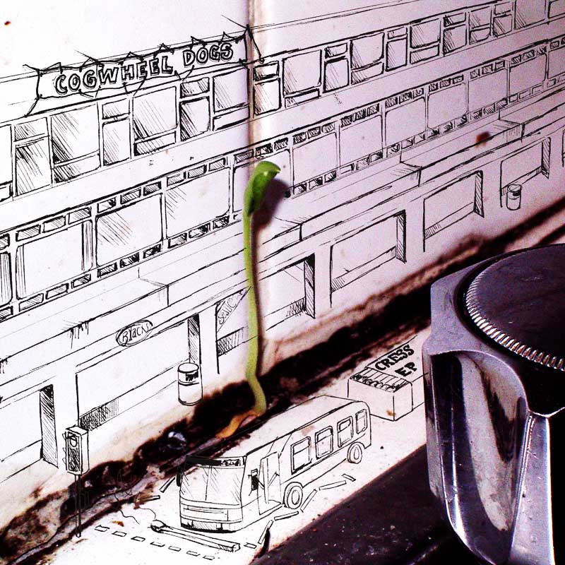 The cover of Cress EP: a photo of cress growing behind the kitchen sink is merged with a drawing of a bus, headlights and buildings